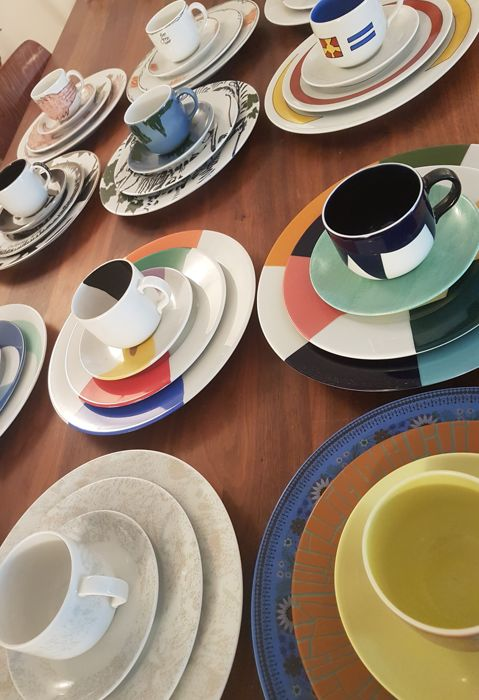 Mosa, Fodor crockery, 12 pieces by 12 different artists, Large plate / breakfast plate / cup and saucer.  Signed.