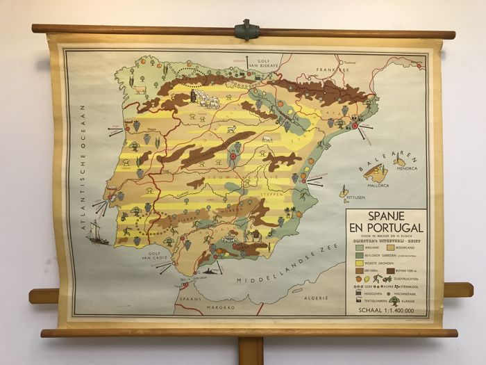 Old school poster map Spain and Portugal - Catawiki