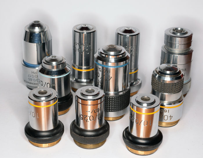 12 microscope lenses seven 40x/0.65and three 10x/0.25