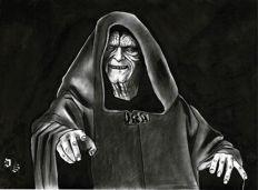 Emperior Palpatine - Star Wars - Original Charcoal And Graphite Drawing - Diego Septiembre