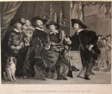 "Bartholomeus van der Helst (1613-1670) after -  ""Les bourgmestres distribuant le prix du jeu de l'arc"" - Designed by Ch.s Chasselat and engraved by Hulmer - circa 1818"