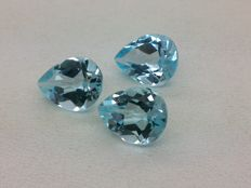 Set of 3 Sky Blue Topaz 9.30 ct