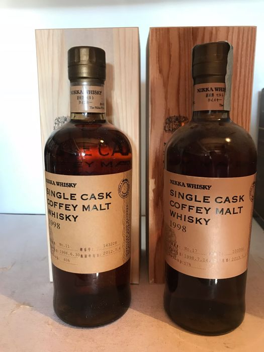 2 bottles - Nikka 1998 Coffey Malt cask nos. 103356 and 143228