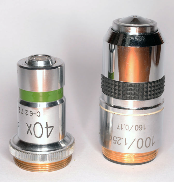 Microscope lenses phase 40x and 100x/1.25