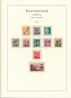 French Zone - 1945 to 1949 - complete collection with Baden, Rheinland Pfalz and Württemberg on album sheets