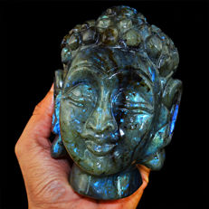 Top Blue Flash Labradorite Buddha Head - 130x88x55 mm - 5595 Cts