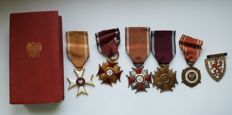 Order Polonia Restituta + 3 crosses of merit (gold, silver and bronze) +military medal + medal of the Western Polish Lands