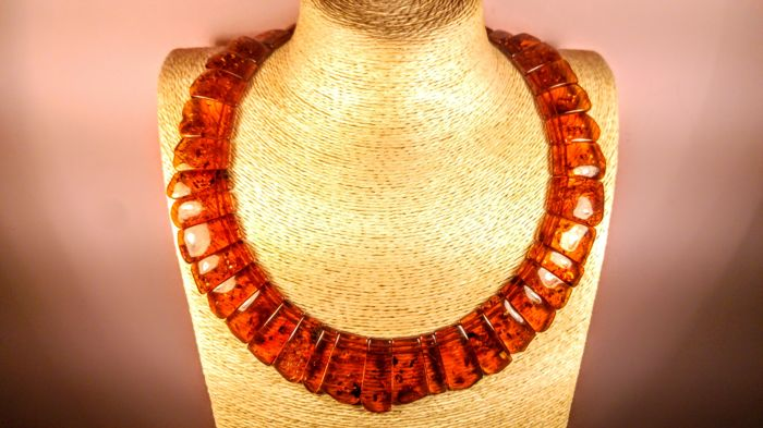Cognac colour 100% Natural Baltic Amber necklace, 63 grams