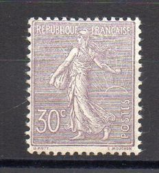 France 1903 – lined Semeuse 30c purple – Yvert no. 133