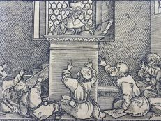 Master of Petrach [Hans Weiditz 1495-1537] - Woodcut. The School Room. Teaching in Medieval Times - 1544