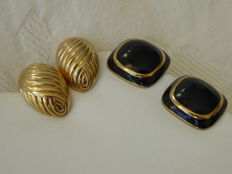 Nina Ricci, Paris - Two pairs of vintage earrings - gold-plated and black enamelled