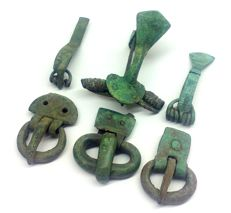 Ancient Roman bronze buckles and fibulae 30, 30, 31, 42, 42, 50 mm