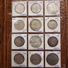 World - Lot of various coins (12 pieces) - silver