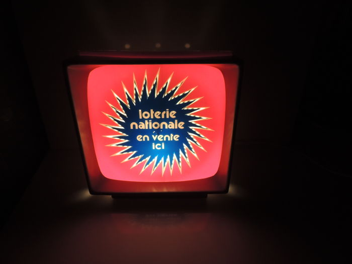 France; motorised neon sign - Loterie nationale - in the shape of a television - c. 1960