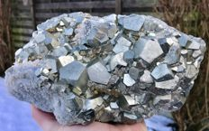 Large piece of Pyrite with beautiful large crystals and covered with Quartz - 23 x 15 x 13 cm - 6.600 kg