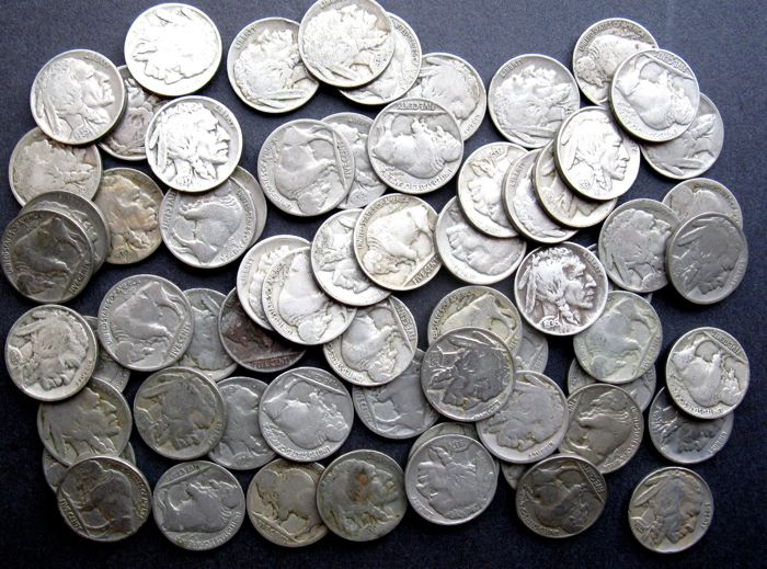 "United States - 5 Cents 1935/1937 ""Buffalo Nickels""- lot of 65 Pieces"