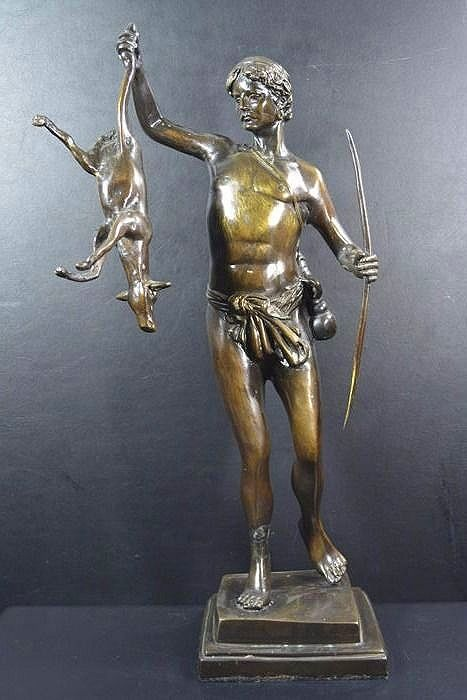 Bronze hunter with deer