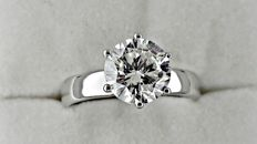 2.13 ct  SI1 round diamond ring made of 18 kt white gold  *** NO RESERVE PRICE ***