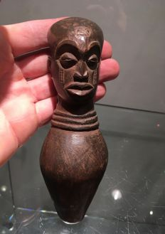Very beautiful large ancient traditional wooden Whistle - CHOKWE - Former Belgian Congo