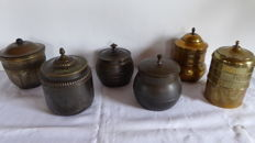 Collection antique brass tobacco jars