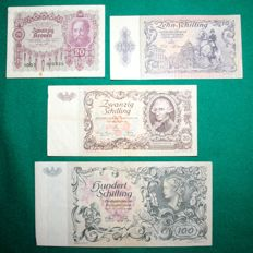 Austria - Lot of 4 banknotes 1922/1950 - Pick 76, 122, 129 and 132