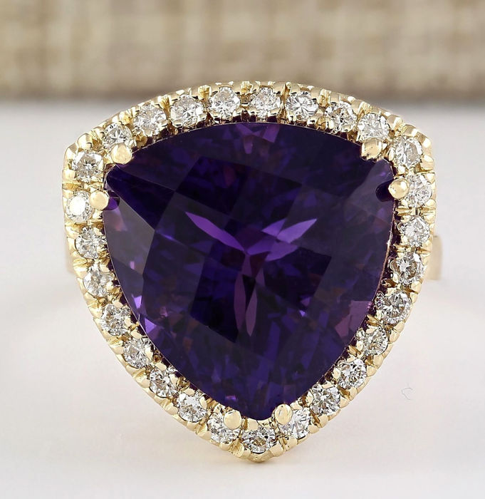 carat amethyst 14k solid yellow gold diamond ring. Black Bedroom Furniture Sets. Home Design Ideas