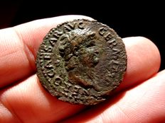 Roman Empire - Nero (54-68 A.D.), bronze as (7,00 g., 27 mm), minted in Rome between. 64 - 66 A.D. Temple of Janus.