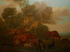Hollandse school (19th century) - Landscape with animals