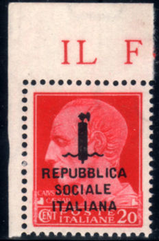 Italy, 1944 - RSI overprint by mistake, corner of sheet, 20 cent. - Sassone no.  495/A