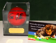 Ronnie O'Sullivan original autographed red snooker ball in a display case + Certificate of Authenticity