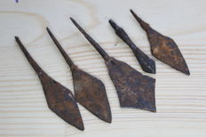 Medieval iron arrowheads -60-105 mm (5)