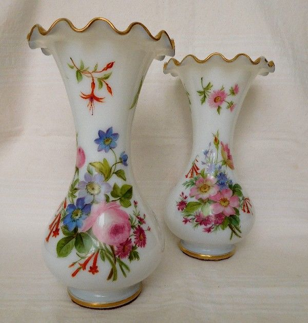 Baccarat France Pair Of Tall Opaline Crystal Painted Vases 30cm