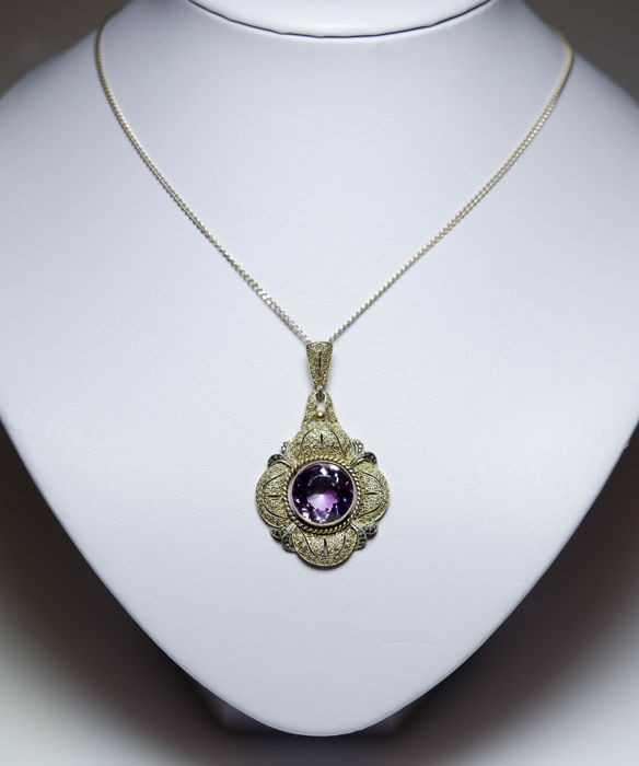 Art deco pendant with large amethyst and marcasites theodor art deco pendant with large amethyst and marcasites theodor fahrner audiocablefo