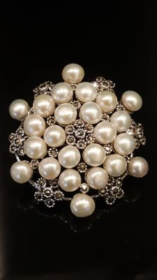 Silver Brooch with Pearls from 1970's