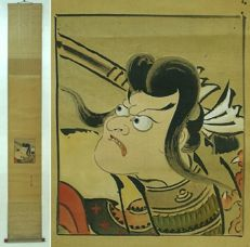 "Hand painted scroll by Torii Kiyotada Kabuki repertoire  ""Genroku Shibaraku"" - Japan - 19th century (Edo period)"