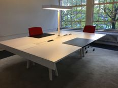 Bouroullec brothers for Vitra - large work table ('bench') from the 'Joyn' office program, with work lamp and accessories.