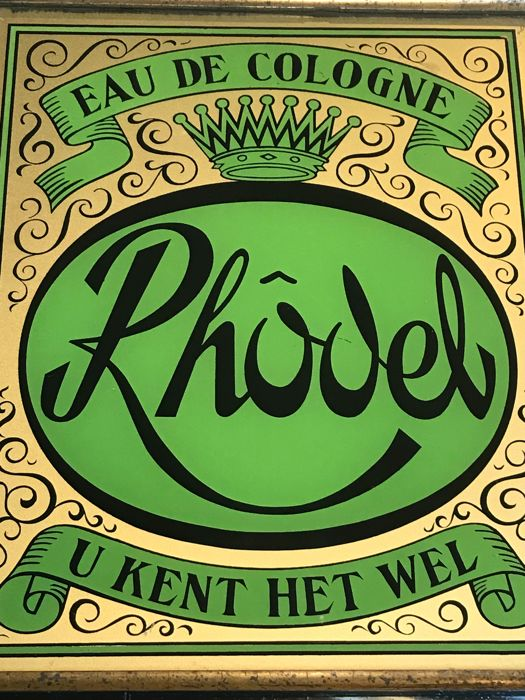 Advertising back glass painting eau de Cologne RHODEL u kent het wel, ca. 1930