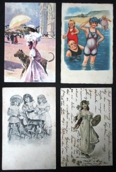 Beautiful valuable lot of 123 cards of known illustrators - various topics - children - humour, etc - 1900/1940