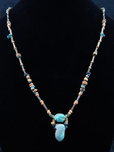Egyptian necklace of decorated faience beads and scarabaeoid - 59 cm