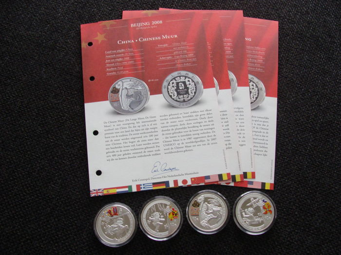 China - 10 Yuan 2008 'Olympic Games Beijing' (4 pieces) coloured - silver