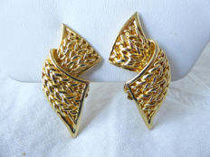 Pierre Balmain, Paris - Vintage earrings with a knitted pattern - gold-plated