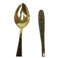 7 Russian silver gilded spoons with enamelled decoration - Russia - Mid 20th century