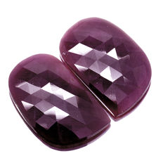 Two Red Ruby - 41.39 ct  ( 20.75 ct. + 20.64 ct. ) - No reserve price