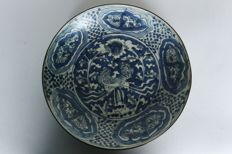 Plate painted in blue and white with double crane. China Ming Dynasty 16th century.