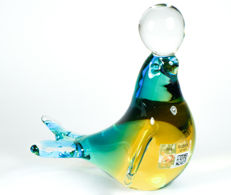 Michele Onesto (Murano) - Sommerso sculpture depicting a seal balancing a ball