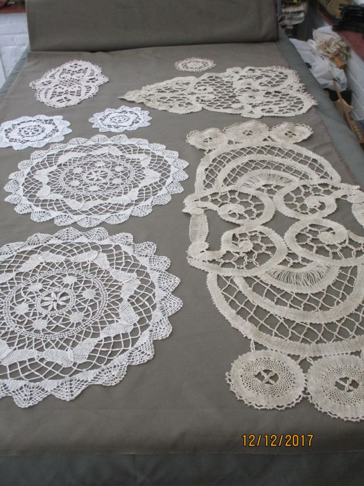 Lot Of Eight Bobbin Lace Tablecloths.
