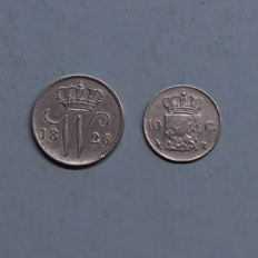 The Netherlands - 10 cents 1825 B and 25 Cent 1826 B Willem I - silver