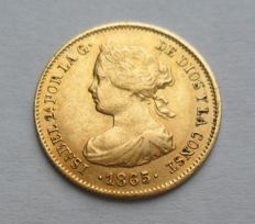 Spain - 2 Escudos 1865 - Isabel II - gold