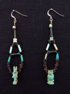 Set of Egyptian earrings with faience amulets of Anubis and Pataikos - 2 x 8.5 cm