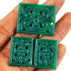 Masterpiece Green Onyx Carved Set - 25 to 33 mm mm - 65 Cts